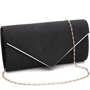 Black Purse with gold chain evening